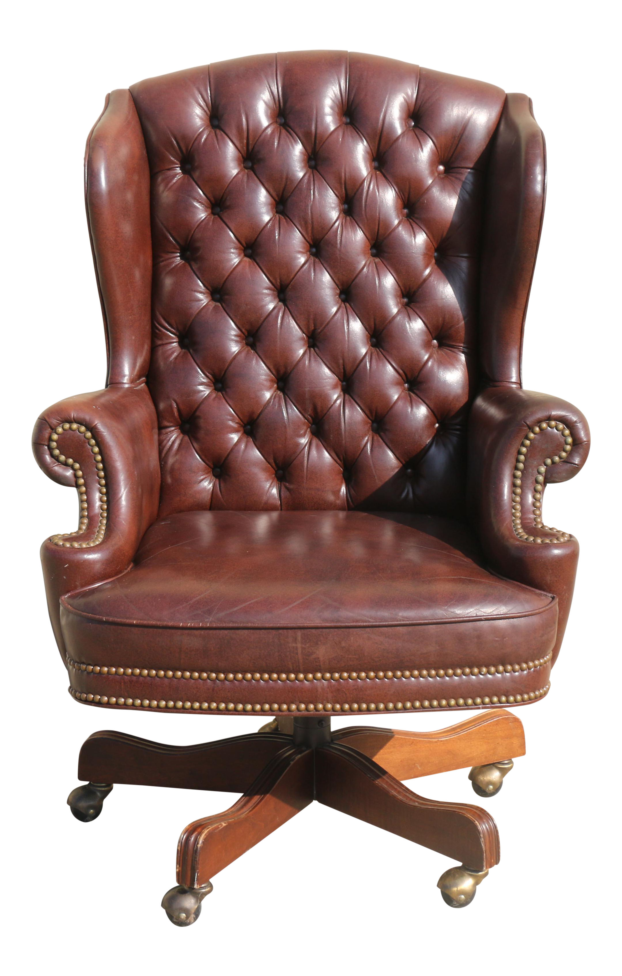 Vintage Office Leather Chair With Wheels Has No Rips Or Damages