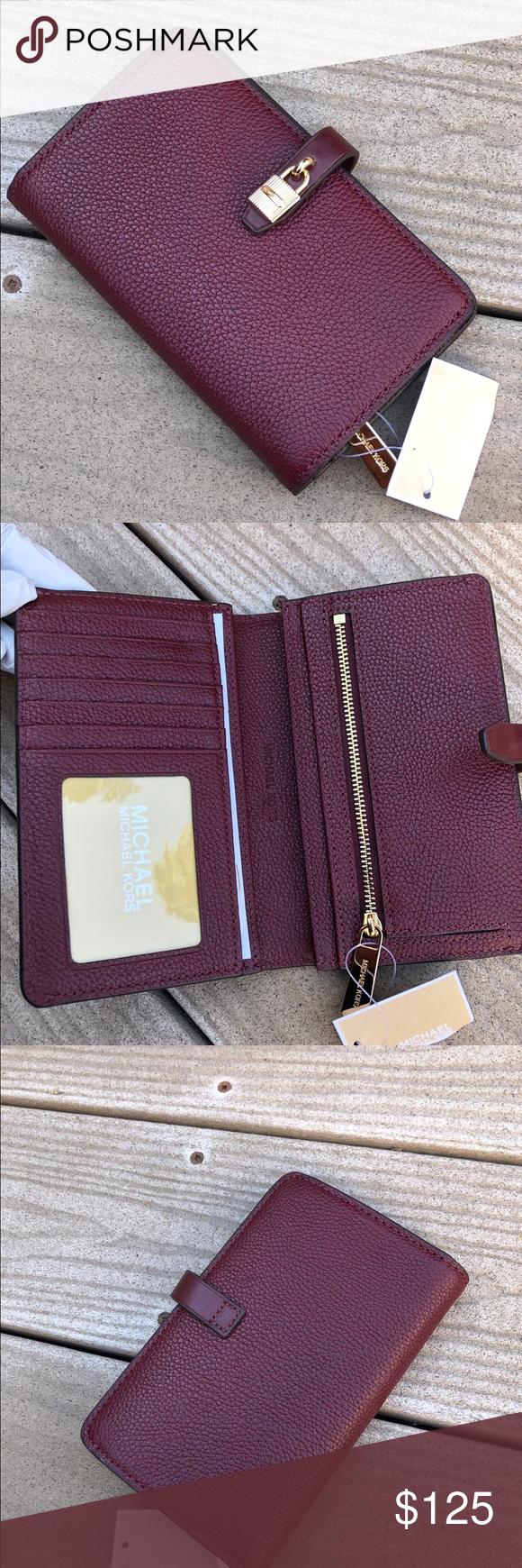 d0cdca3a3d65 Michael kors pebble adele slim bifold wallet STYLE: 35H8GAFF2L Color:  Merlot From MICHAEL Michael