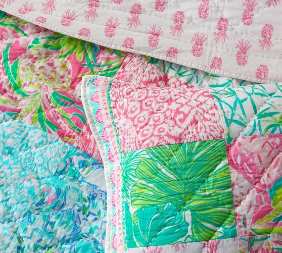 Lilly Pulitzer Party Patchwork Quilt: Lilly Pulitzer Pineapple Party Patchwork Cotton Quilt