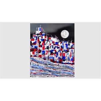"""Quadri Moderni """"Città astratta in rosso e in blu""""  Acrilico materico spatolato su tela, tecnica della screpolatura del colore e applicazione di sabbie, cristalli di vetro e glitter luminosi. Il quadro astratto materico della città, rappresentata con colori contrastanti, si inserisce nella collezione di quadri con effetti decorativi, per arredare ambienti moderni dai colori vivaci."""