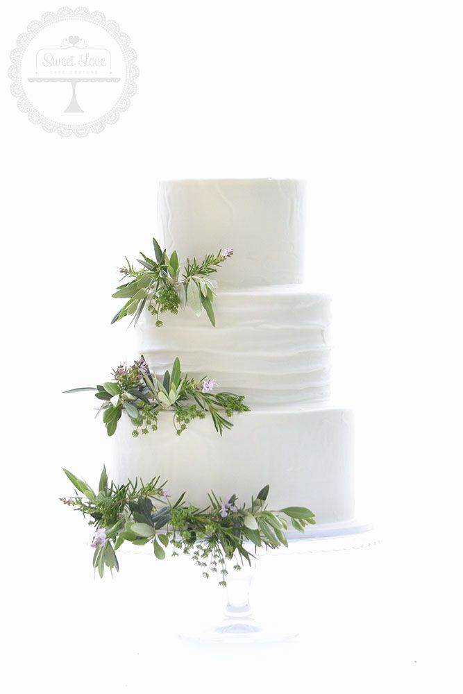 A Simple And Natural Wedding Cake Decorated With Olive Leaves And Herbs Wedding Cake Olive Leaves Wedding Cake Decorations Wedding Cake Olive