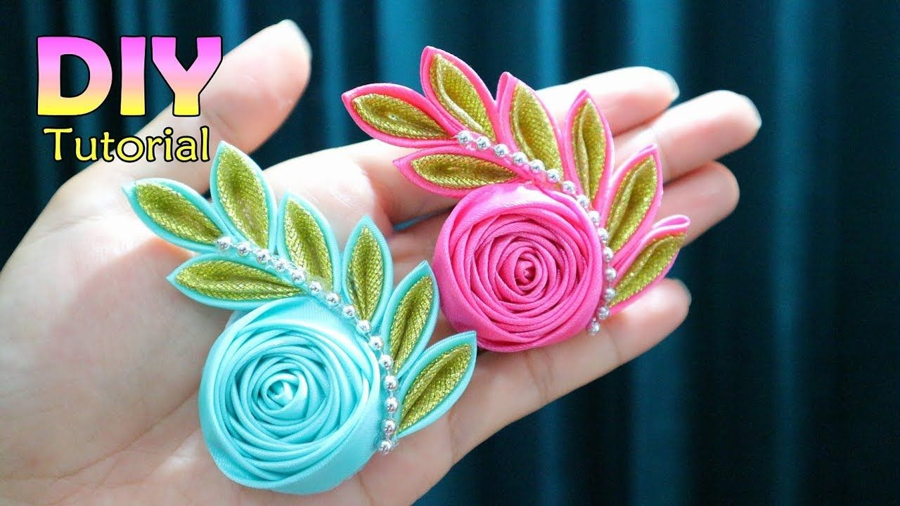 DIY - Tutorial Kanzashi Flower | Satin Ribbon Flower | Cara Membuat Bros Handmade | #ribbonflower