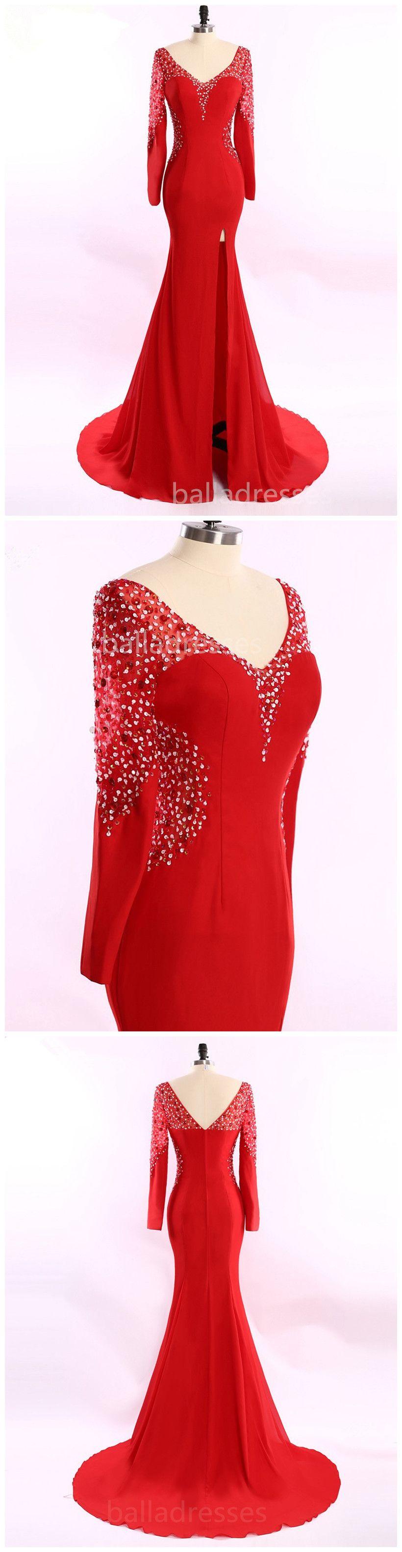 Long sleeves crystal beaded open back black white red mermaid