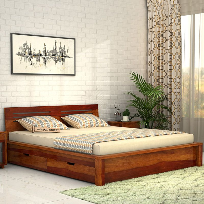 The Sturdy And Durable Lynet Bed Made Of Sheesham Wood Has A Graceful Honey Finish And Attractive Design Bedroom Bed Design Bed Design Modern Box Bed Design