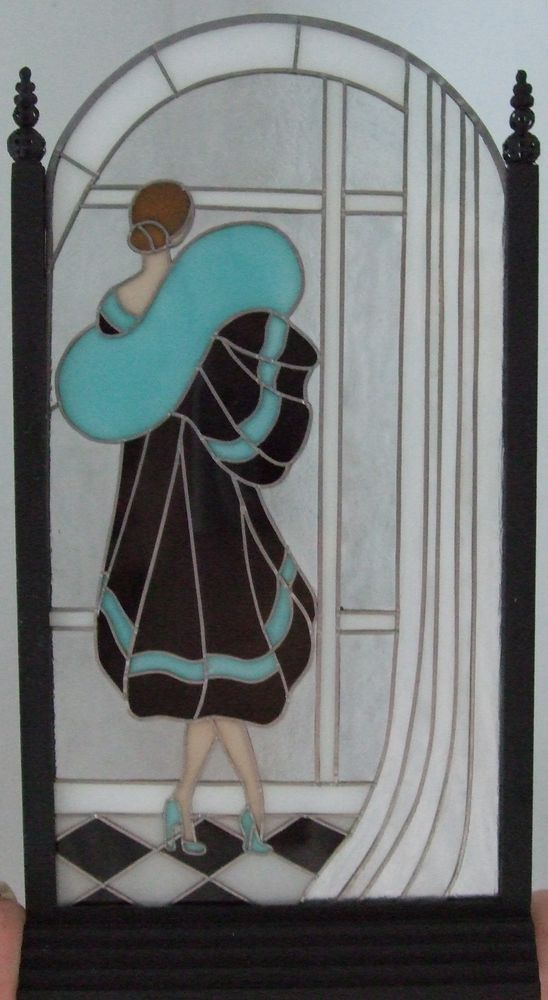 dollhouse miniature art deco lady ii 39 stained glass. Black Bedroom Furniture Sets. Home Design Ideas
