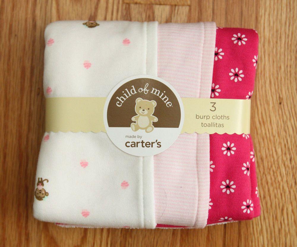 Carter S Child Of Mine Baby Girl Set Of 3 Burp Cloths Flowers