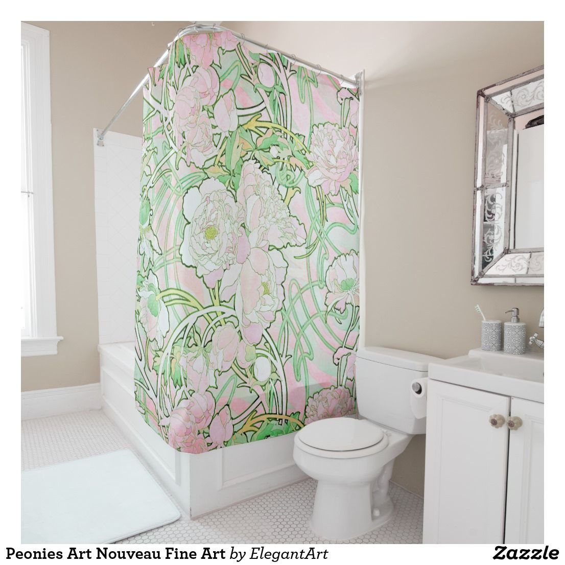 Peonies Art Nouveau Fine Art Shower Curtain Zazzle Com With