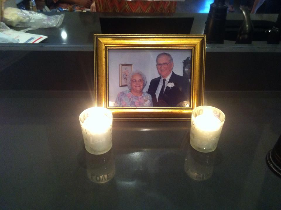 In memory photo of great grandparents using Yankee Candle LOVE votives in the Bridal Suite