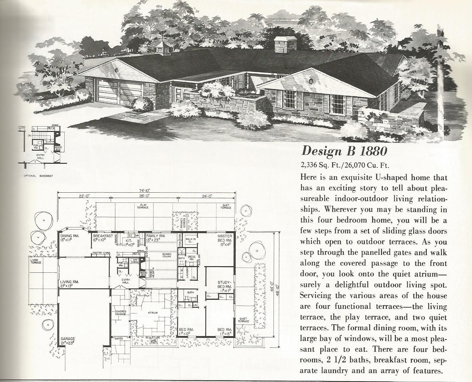 Vintage house plans mid century homes u shaped houses