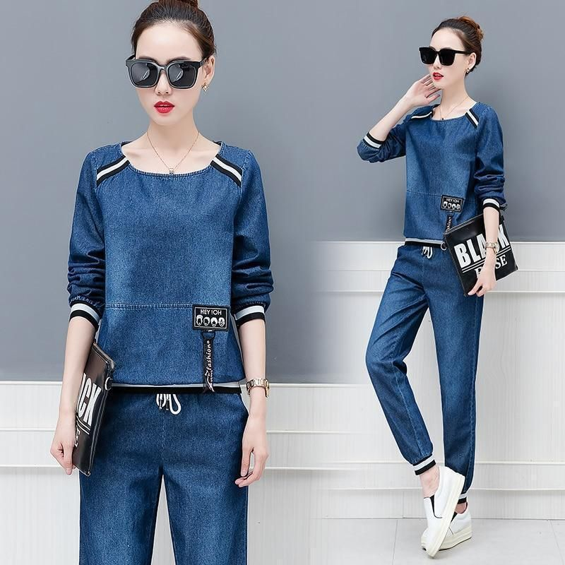 Buy Clothing Set – Women Plus Size Tracksuit Top and Pants, Denim at LeStyleParfait.Com for only $56.99 USD
