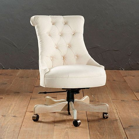 Available In Several Fabric Colors And Patterns The Ballard Designs Elle Tufted Desk Chair 559 749 Has A Vintage Glamorous Look That Would Instantly