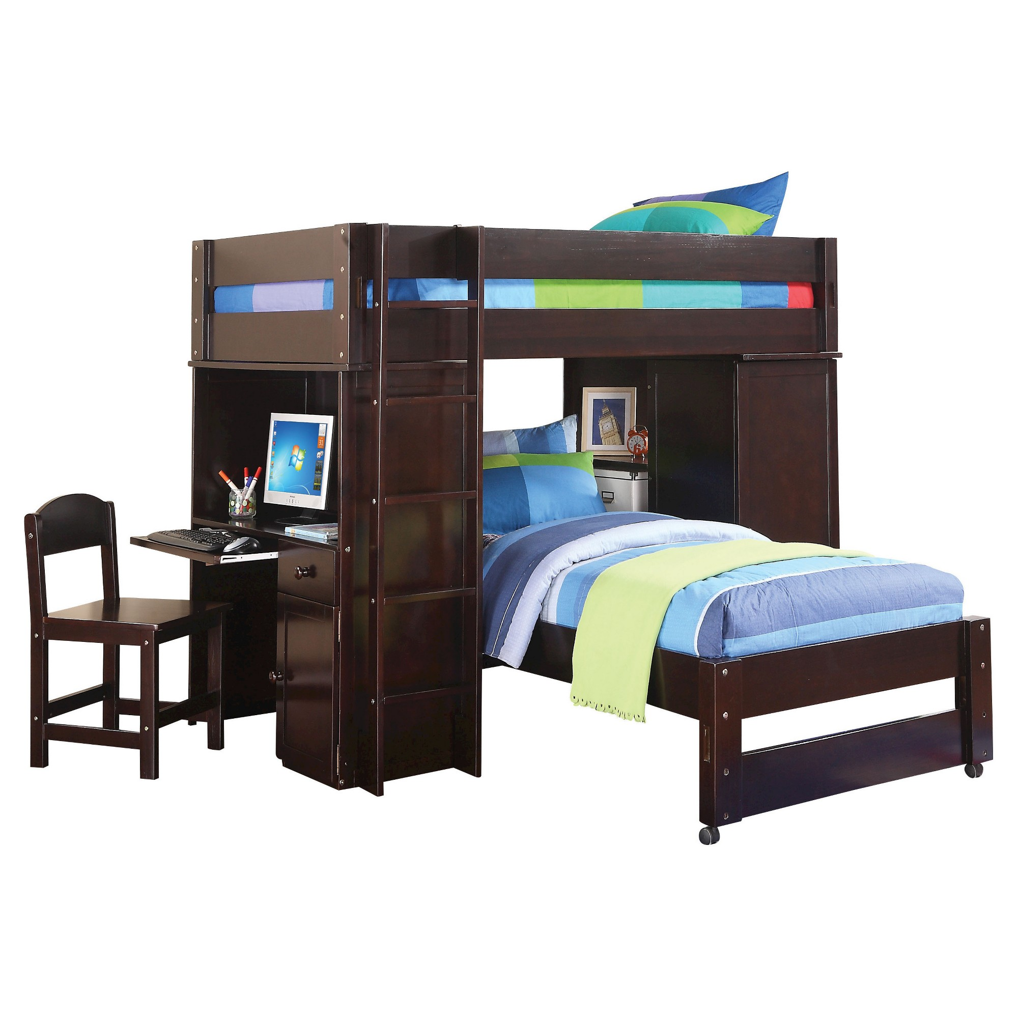 Best Lars Kids Loft Bed With Twin Bed Wenge Twin Twin Acme 400 x 300
