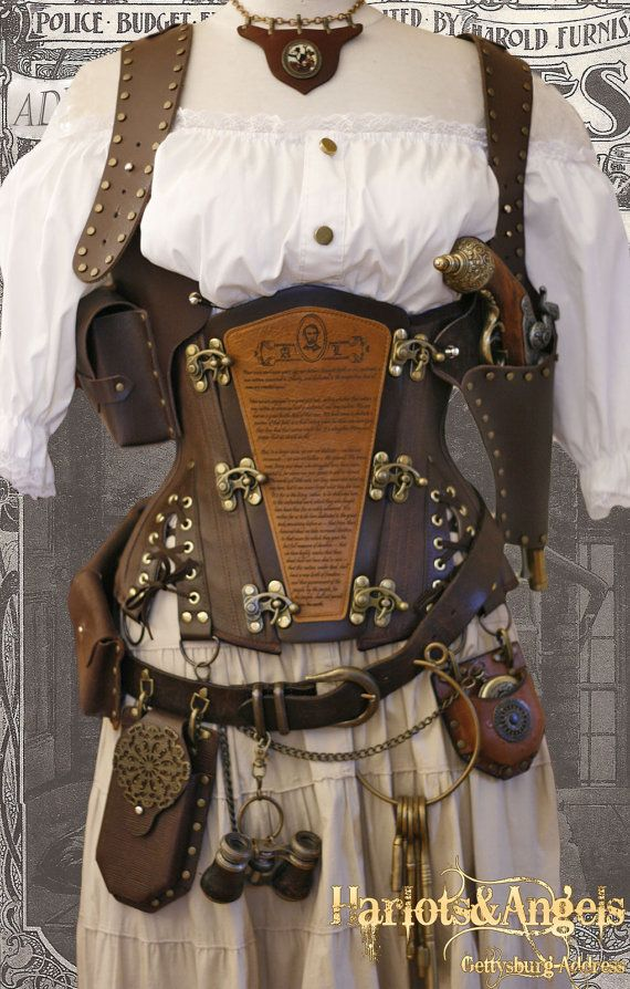 "34"" waist Steampunk Corset Gettysburg Address Leather Engraved Underbust corset on Etsy, $219.72 CAD"