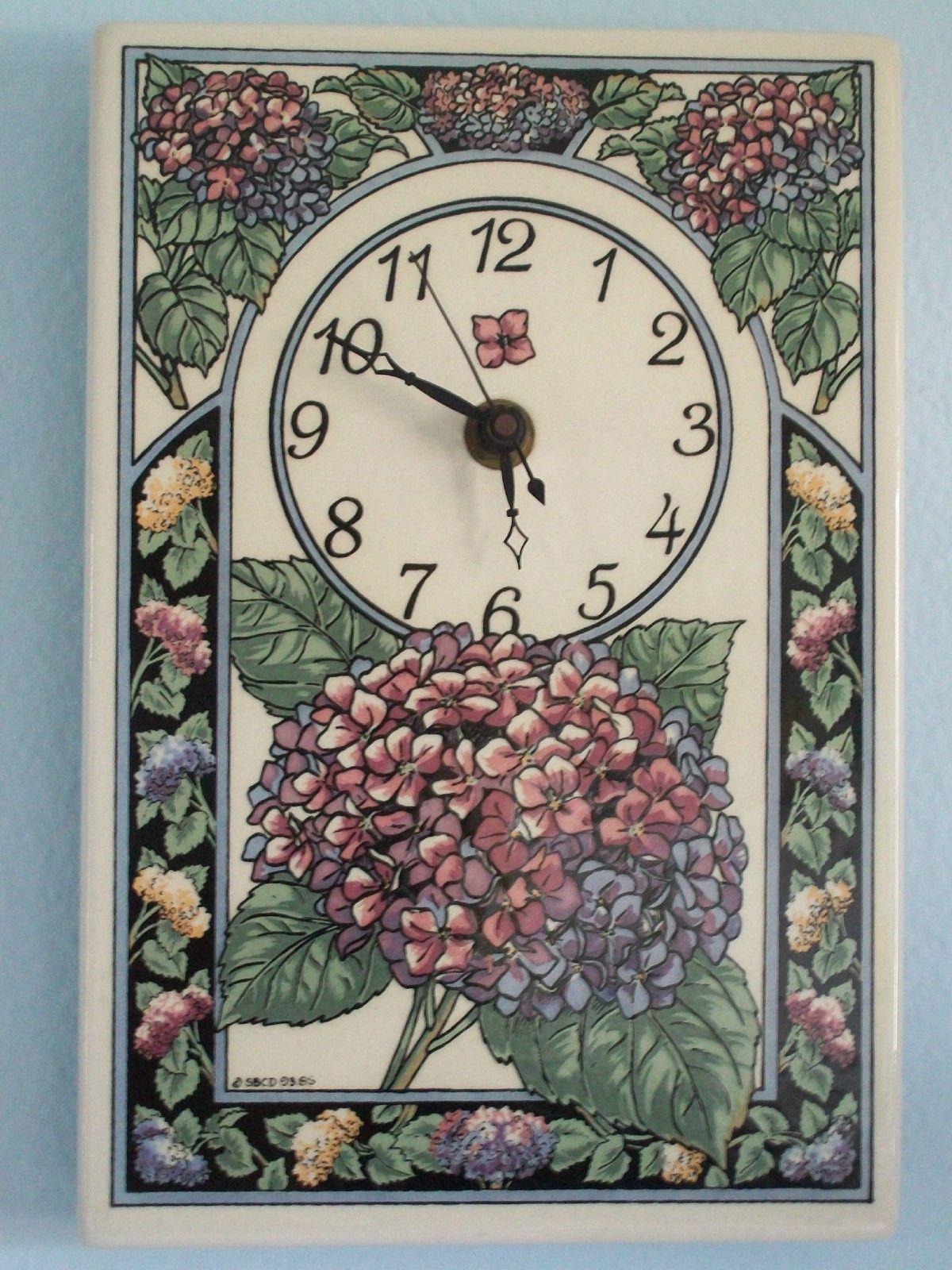 Santa Barbara Ceramic Design Tile Wall Clock Flowers