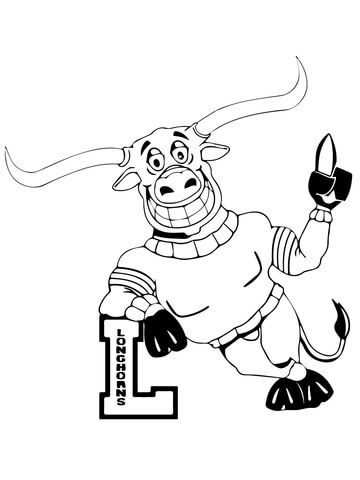UT Longhorn Mascot coloring page from NFL category. Select