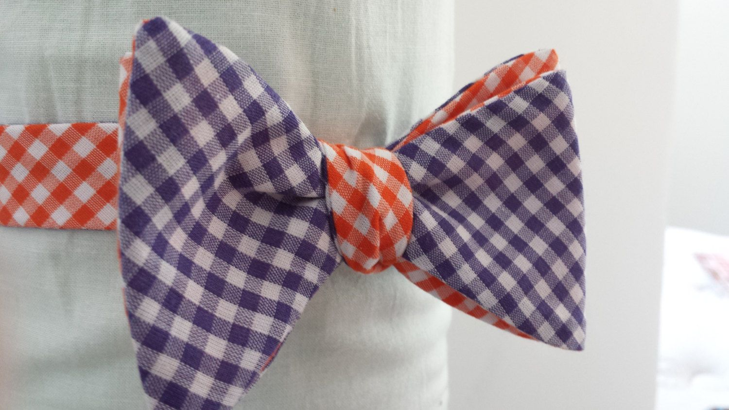 Purple and Orange Gingham Bow Tie!  Very Clemson!!