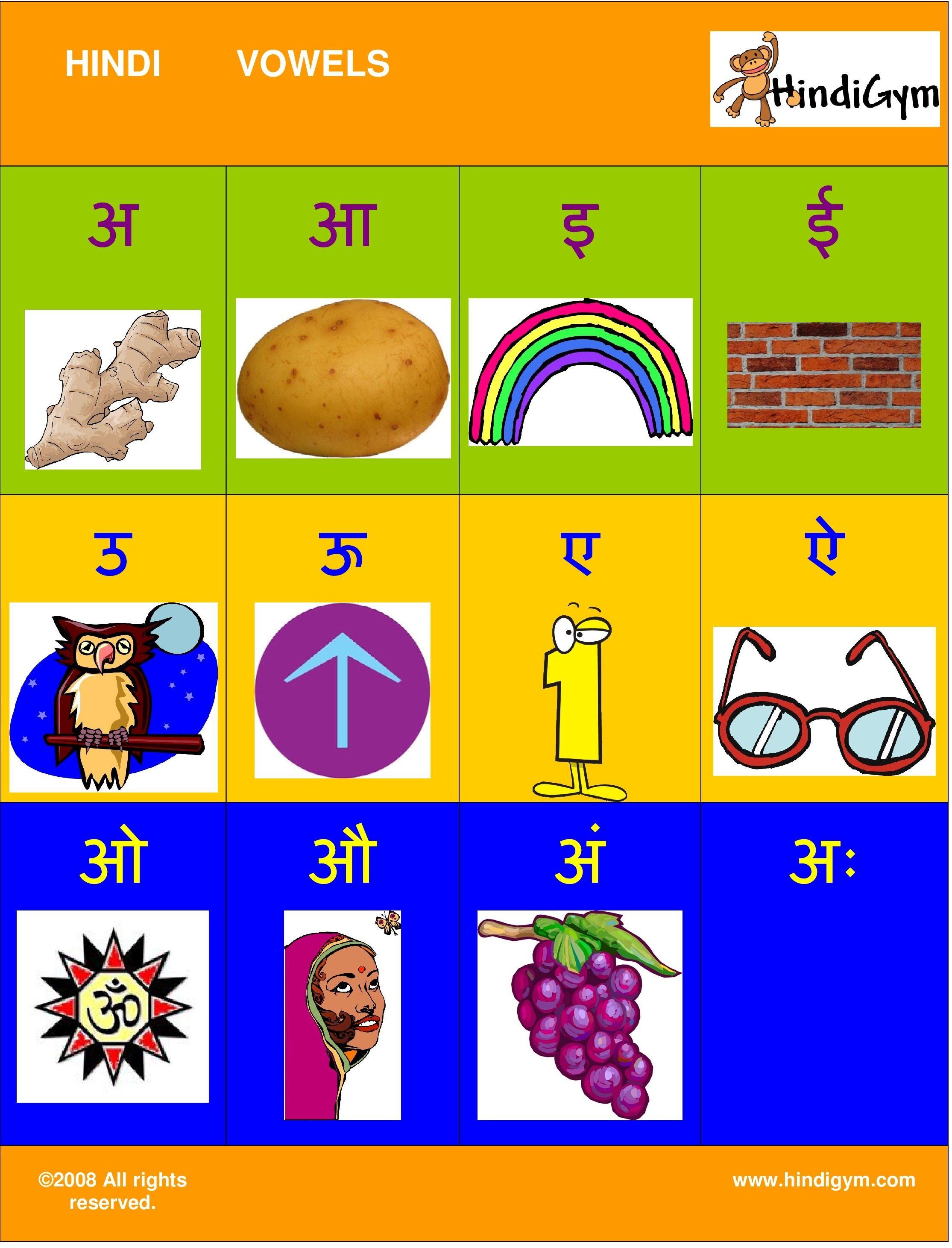 Hindi vowel chart free print at home varnamala swar also alphabet kids charts rh pinterest