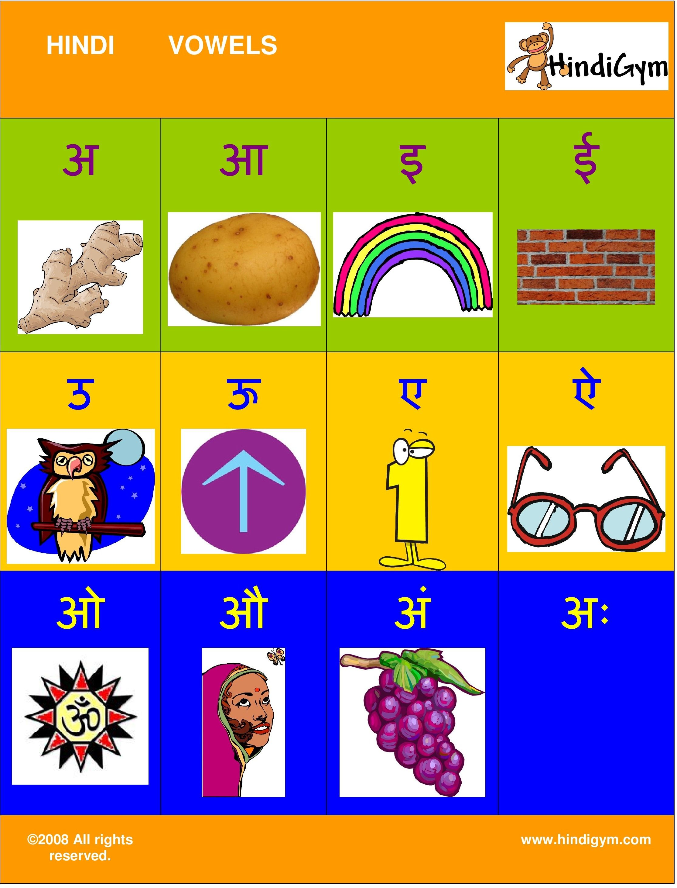 Hindi Vowel Chart Free Print At Home Varnamala Swar Kids