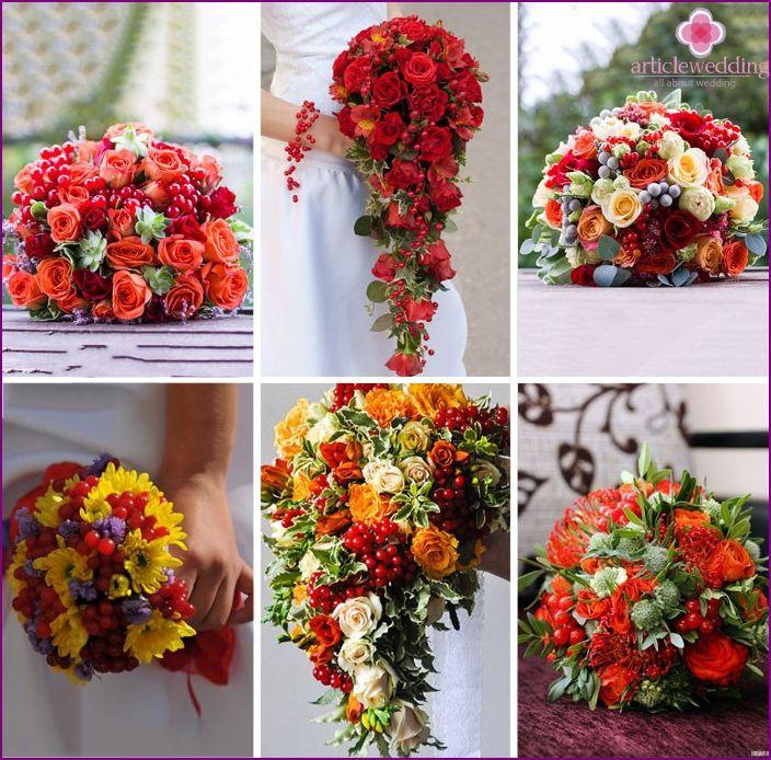 Bryllup buketter med bær for bruder: bilder designmuligheter
