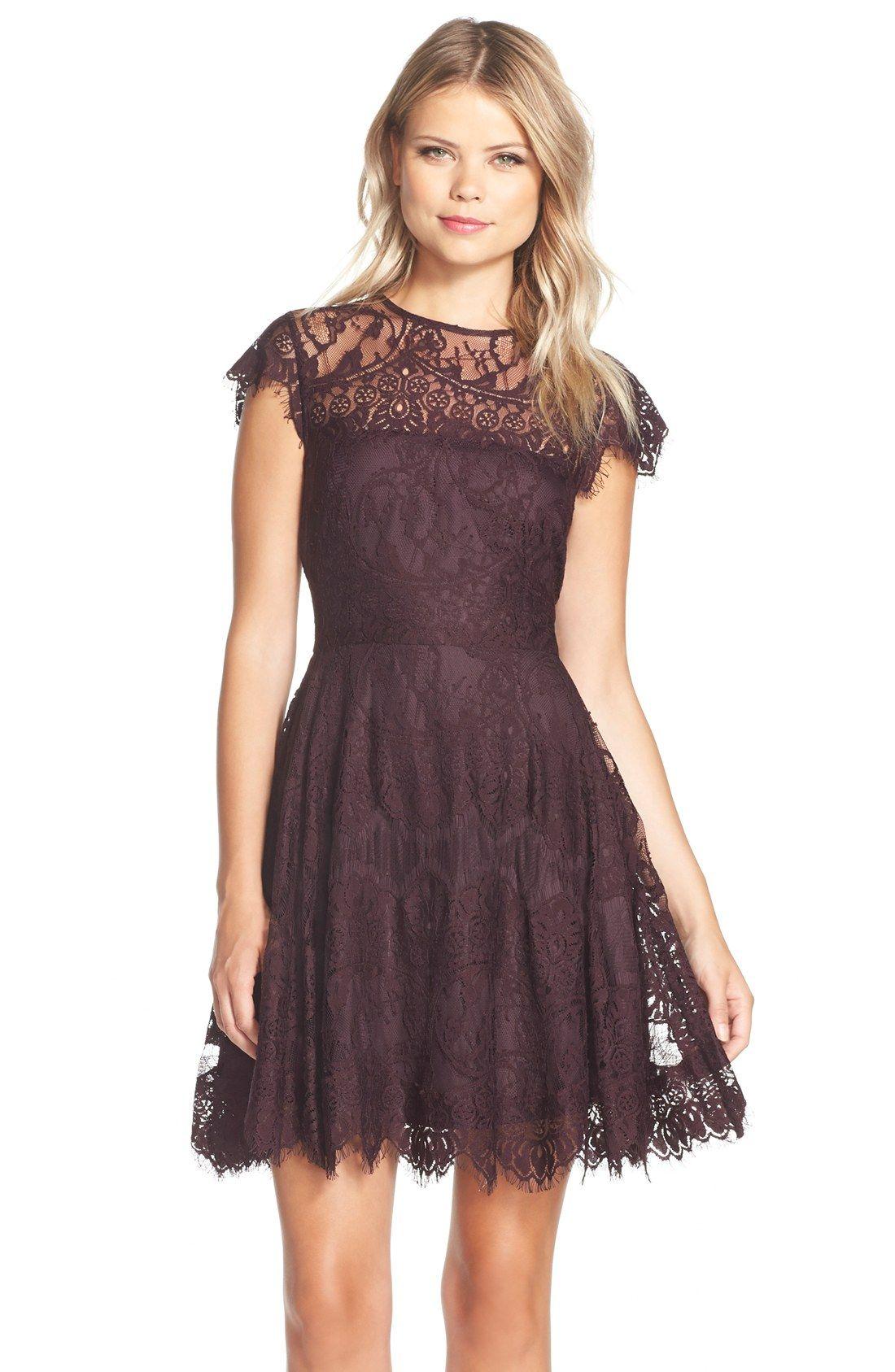 Rhianna\' Illusion Yoke Lace Fit & Flare Dress | Fit flare dress ...