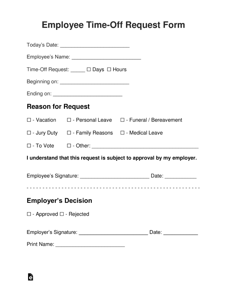 Employee Time Off Vacation Request Form Eforms Free Fillable Forms Birth Certificate Template Letter Gifts Letter Example
