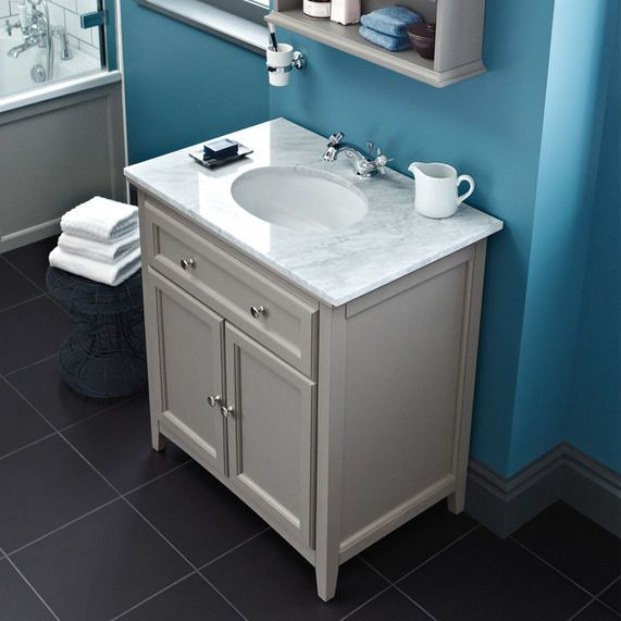 Savoy Gun Metal Grey 790 basin unit with marble top and
