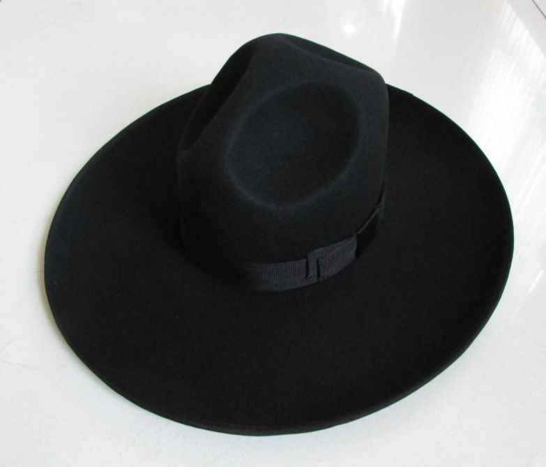ff4b21b2310 100% Wool Felt Jewish Hat Men Israel Large Wide Brim 12 cm Black Jew Mens  Fedora Hats for Women-in Fedoras from Men s Clothing   Accessories on ...