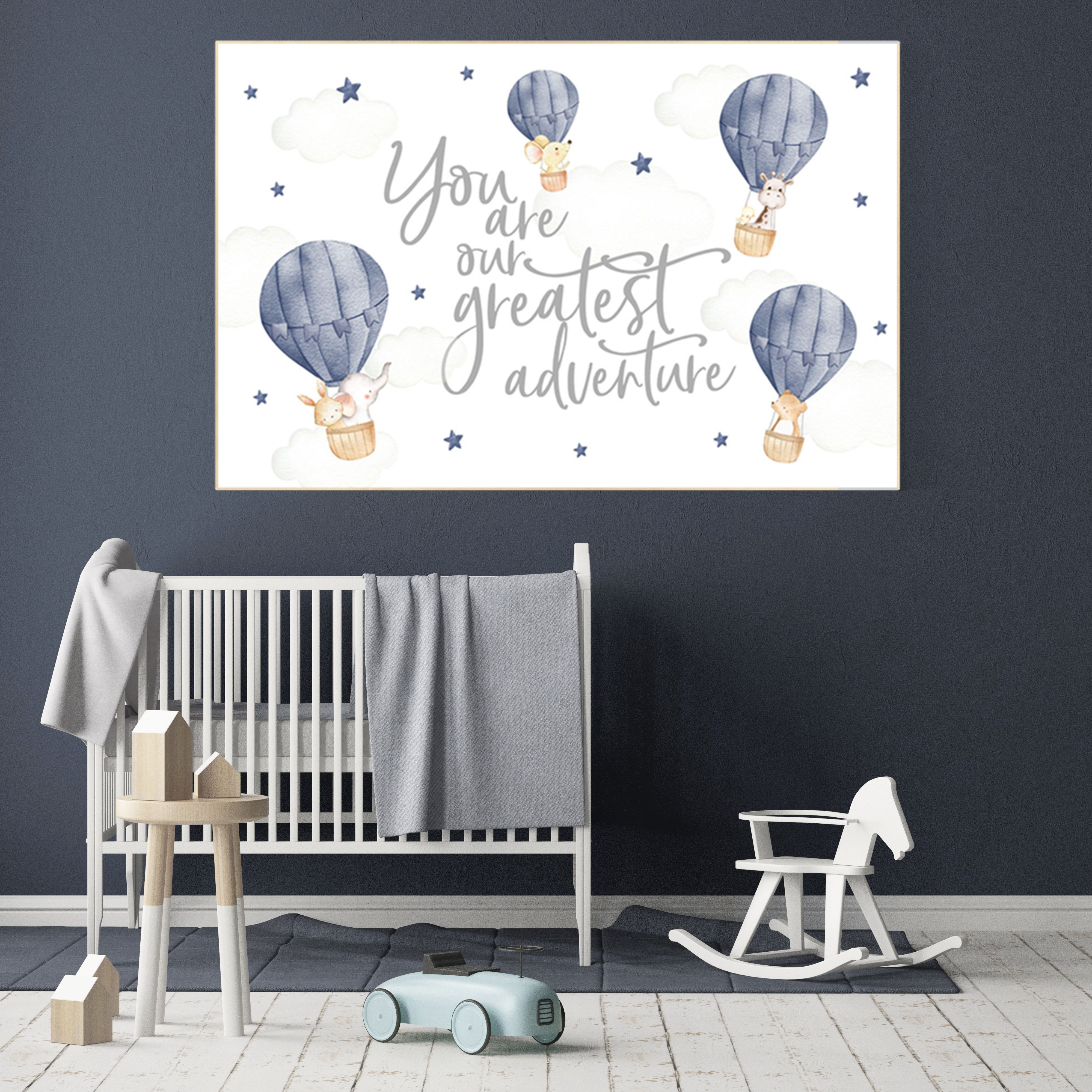 Hot air balloon nursery, Nursery decor navy blue, you are