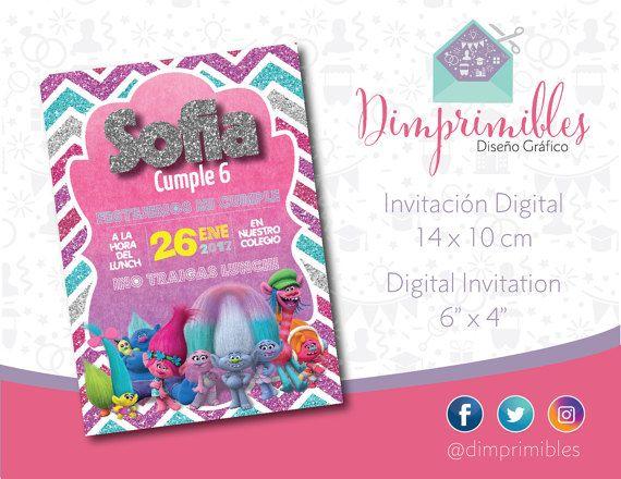 Invitación digital, Trolls, Poppy, imprimible,  niñas, girls