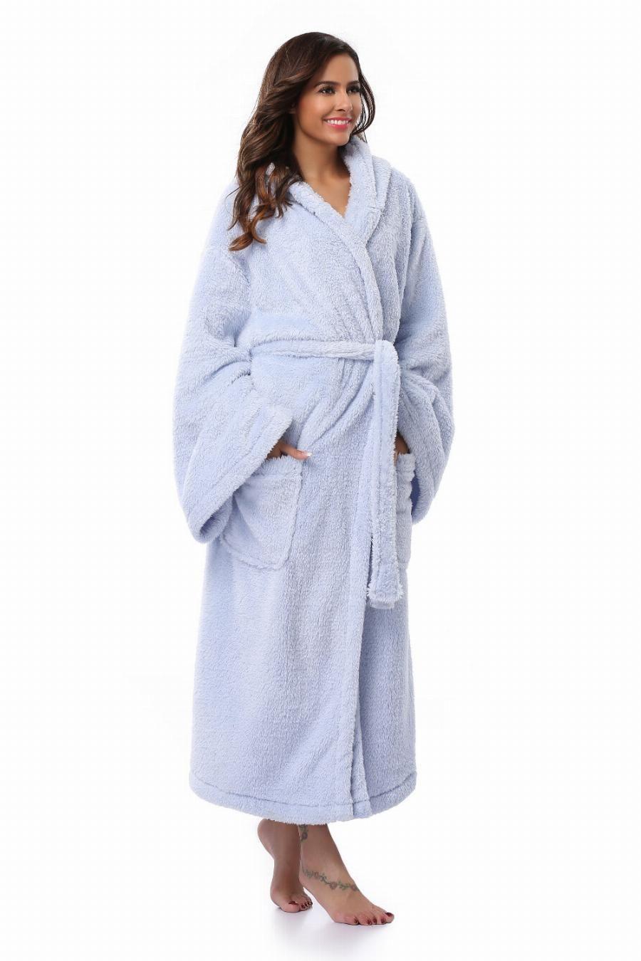 5b3f3c870b Winter Thick Warm Women Robes 2017 Coral Fleece Sleepwear Long Robe Woman  Hotel Spa Plush Long Hooded Bathrobe Nightgown Kimono