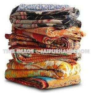 set of 5pc wholesale Sari Quilts Throws - Fair Trade | Indian ... : quilted throws wholesale - Adamdwight.com