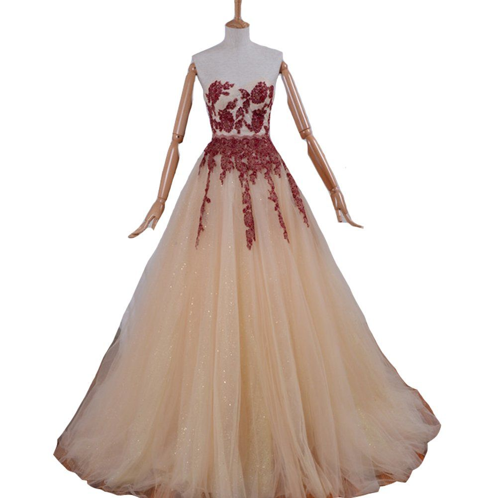 Kivary a line long champagne and wine red lace formal prom evening