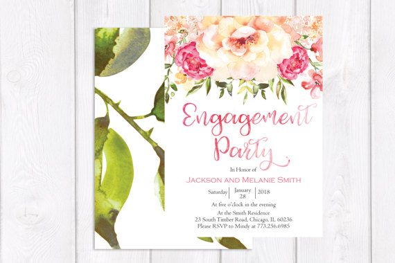 Engagement Party Invitation Floral Engagement Party invitation Pink Engagement Party Invitation Pink Floral Engagement Party Invitation Pink Flower Engagement Invitation Engagement Invitation Printable or Printed