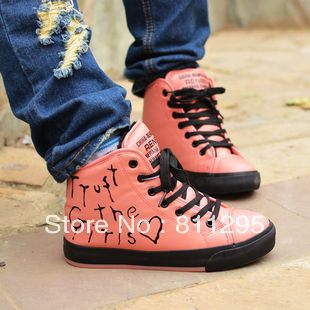 venda quente doinverno lacing flat pu botasimpermeáveis botas de neve feminino doodle doce estilo preppy
