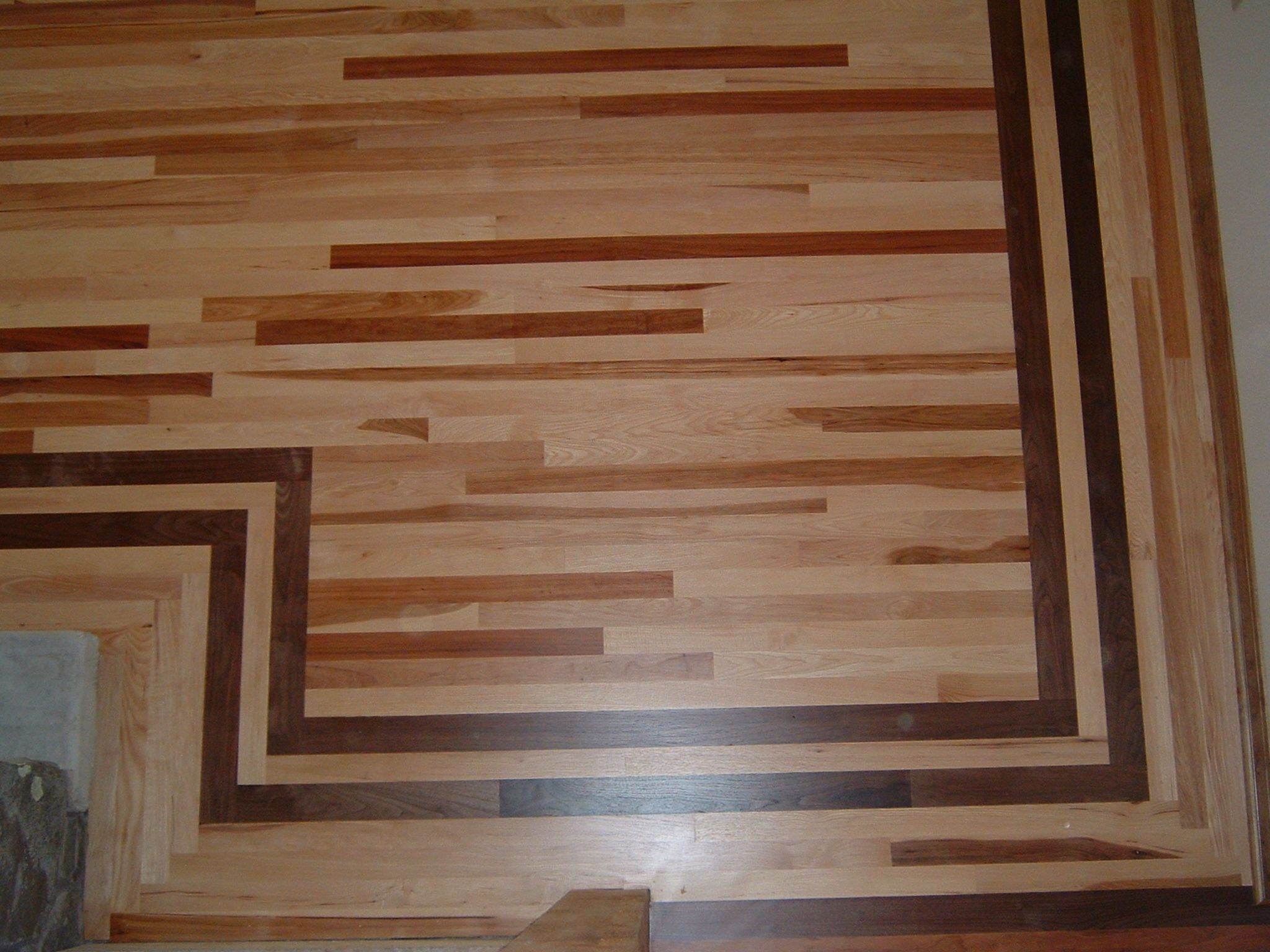 Dark wood flooring with inlay dark brown borders wood Hardwood floor designs borders