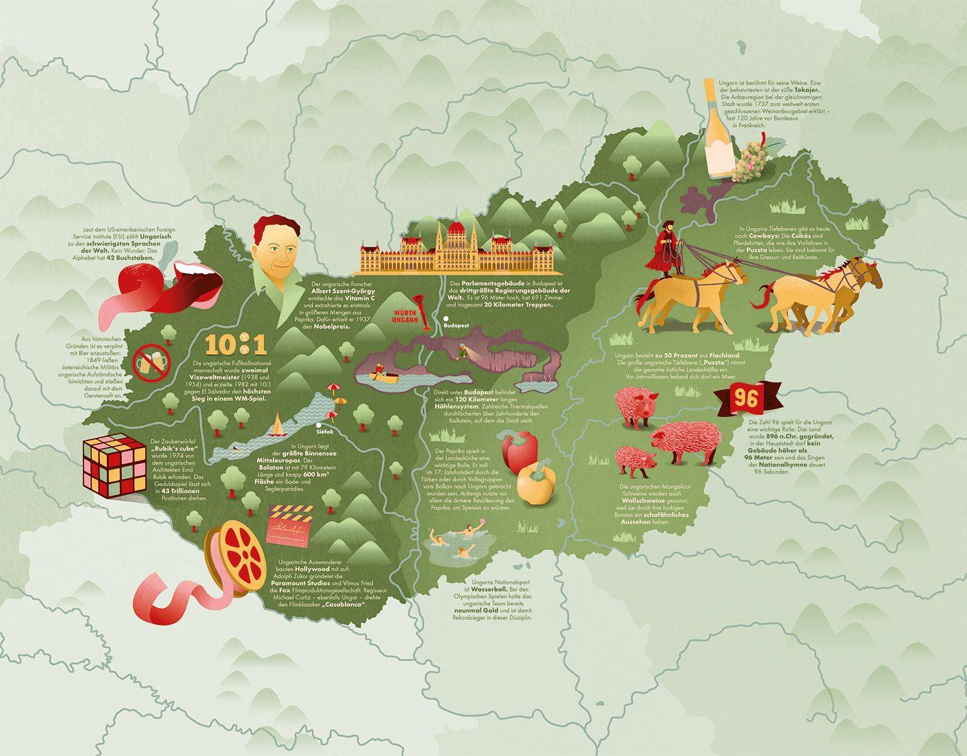 Illustrated Map Of Hungary With Fun Facts Illustrierte Karte Von Ungarn Mit Fakten Und Sehenswurdigkeiten Fu Illustrierte Karten Editorial Illustration Karten