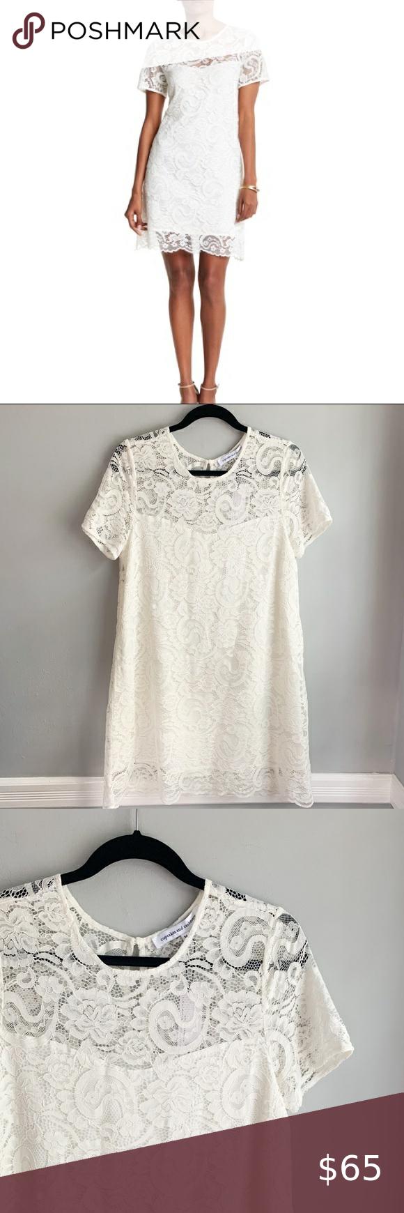Nwt Cupcakes Cashmere White Lace Shift Dress White Lace Shift Dress Lace Shift Dress Lace Up Bodycon Dress [ 1740 x 580 Pixel ]