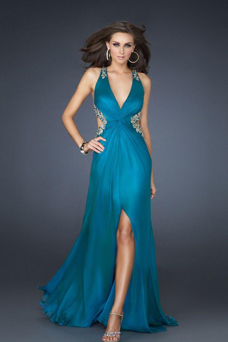 Gorgeous Back Prom Dresses Floor Length V Neck Sheath/Column Chiffon ...