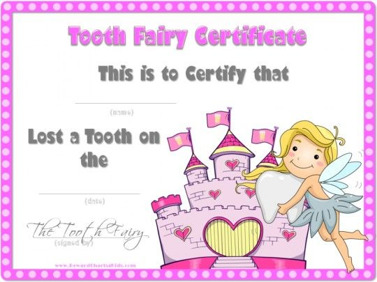 Tooth Fairy Certificate Tooth Fairy Certificate Tooth Fairy Letter Tooth Fairy Letter Template