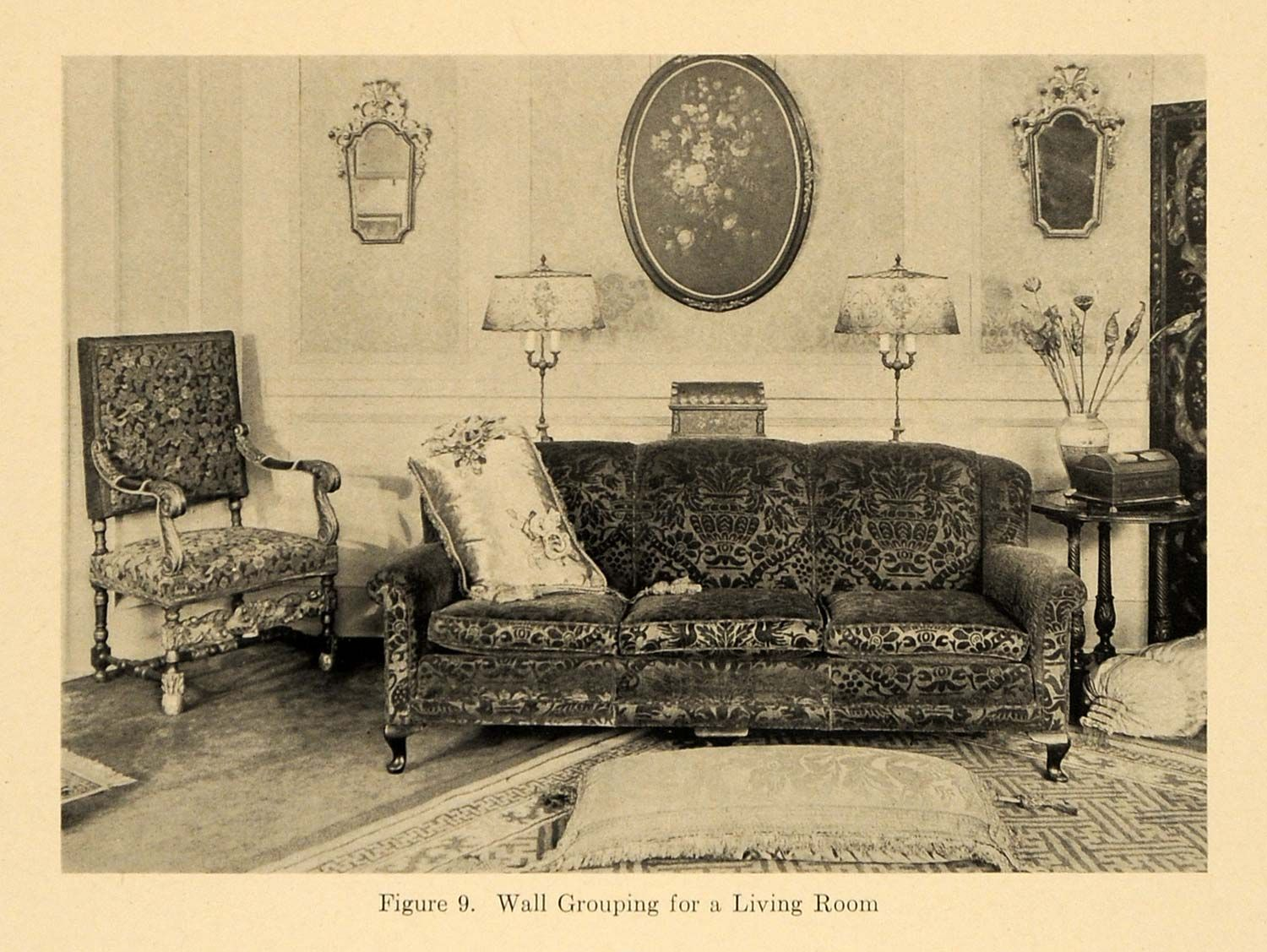 Living Room Furniture Vintage Style 1920 print living room furniture couch sofa pillow lamp original