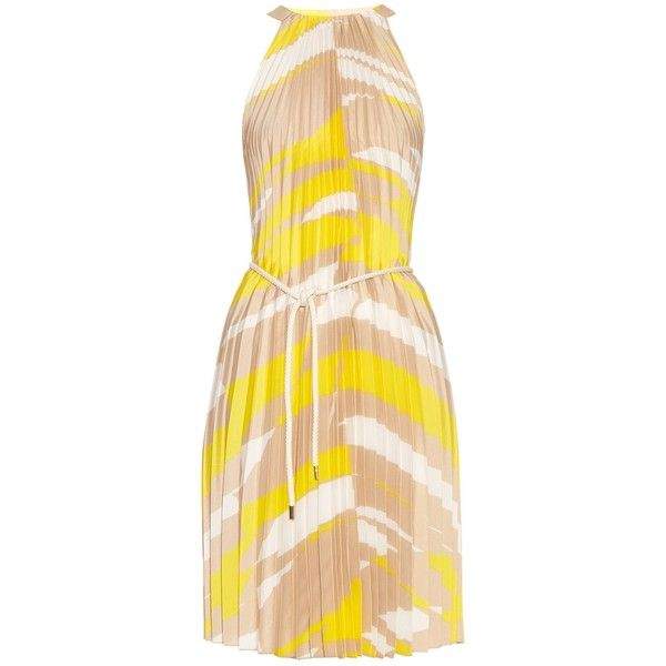 Max Mara Danzica Dress Found On Polyvore Featuring Dresses Yellow Print Beige Stripe Pleated Striped And Nautical
