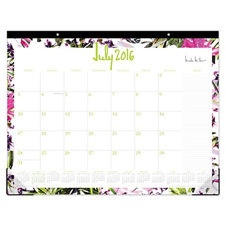 Nicole Miller Monthly Desk Pad Calendar 22 X 17 Rio July 2016 To June 2017 By Office Depot Officemax