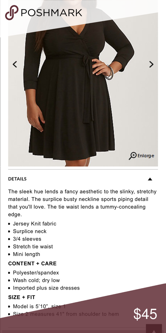 a820dfba826 Black faux wrap dress Midi length black faux wrap dress. Would be really  cute with knee high boots for the fall and winter. Will add pictures later.