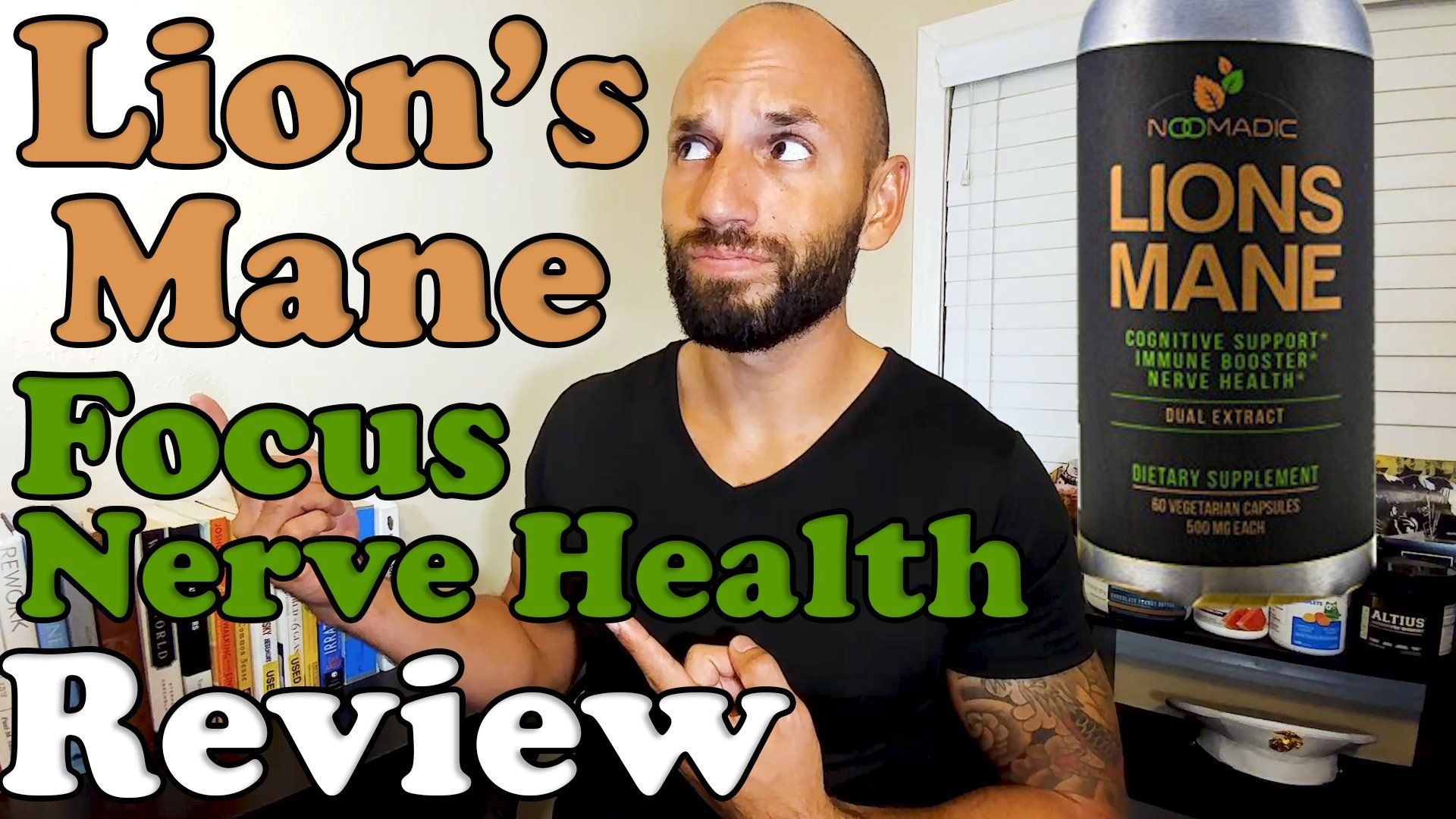Lions mane mushroom extract supplement review with