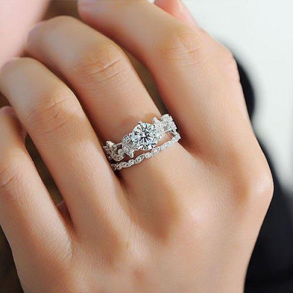 leaf shape 20 ct round cut created white sapphire wedding set - Perfect Wedding Ring