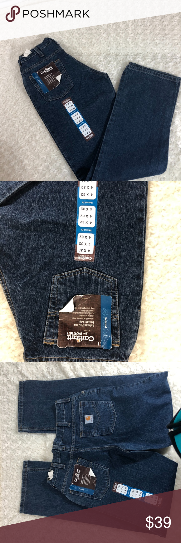New Carhartt Womens Sz 4 32 Jeans WB160VID New Carhartt Womens Sz 4 32 Jeans WB160VID Relaxed Fit Straight Leg new with tags condition Carhartt Jeans Straight Leg #carharttwomen