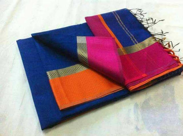 51a86146aa0 Maheshwari Handloom Cotton + Silk With Running Blouse Piece Ready To Ship.  Shop Sarees at glowroad.com