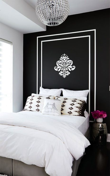 Suzie Style At Home Stacey Cohen Gorgeous Bold Black Accent Wall With White Painted Frame Painted Headboard Home Decor Home