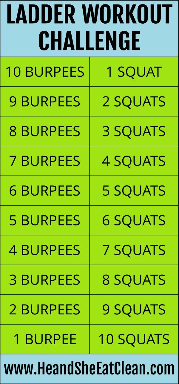Use this Ladder Workout Challenge with burpees and squats as your
