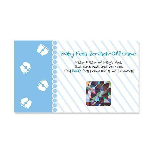 Baby Shower Game Scratch Off Cards Big Dot of Happiness Baby Feet Blue 22 Count